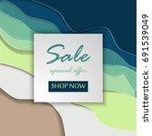 paper art of sale discount... | Shutterstock .eps vector #691539049