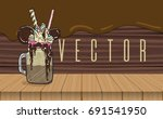cartoon style milkshake with... | Shutterstock .eps vector #691541950