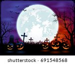 halloween theme with big moon... | Shutterstock .eps vector #691548568