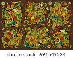 vector hand drawn doodle... | Shutterstock .eps vector #691549534