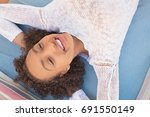 over head beauty portrait of... | Shutterstock . vector #691550149