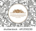 invitation with floral... | Shutterstock . vector #691550230