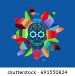 skull vector with feather...   Shutterstock .eps vector #691550824