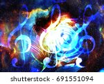 music notes and clef in space... | Shutterstock . vector #691551094