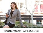 portrait of beautiful mature... | Shutterstock . vector #691551313