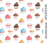 watercolor  cupcakes seamless... | Shutterstock . vector #691555144