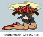 female legs in stockings and...   Shutterstock .eps vector #691557718