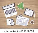 wooden table with daily news on ... | Shutterstock .eps vector #691558654