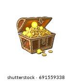 vector opened wooden treasure... | Shutterstock .eps vector #691559338