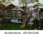 hut on the tonle bati lake in... | Shutterstock . vector #691561168
