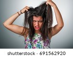 brunette teenager girl with... | Shutterstock . vector #691562920