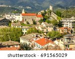 town of levanto on the ligurian ... | Shutterstock . vector #691565029