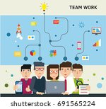 team working together on a... | Shutterstock .eps vector #691565224