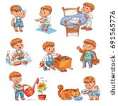 daily routine. child is combing ... | Shutterstock .eps vector #691565776
