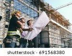 engineer inspects construction... | Shutterstock . vector #691568380