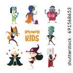 halloween.children in halloween ...   Shutterstock .eps vector #691568653