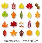 paper cut autumn leaves set.... | Shutterstock .eps vector #691570369