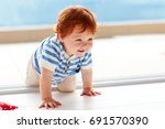 cute smiling toddler baby... | Shutterstock . vector #691570390