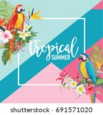 tropical flowers and parrot... | Shutterstock .eps vector #691571020