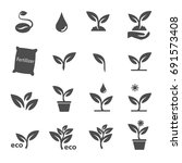 plant and leave icons set vector | Shutterstock .eps vector #691573408