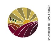 vineyard colorful icon | Shutterstock . vector #691578634