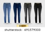 blank leggings mockup set  blue ... | Shutterstock .eps vector #691579333