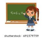schoolgirl writing on the... | Shutterstock .eps vector #691579759