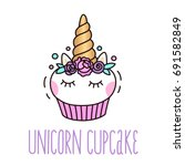 cute unicorn cupcake on a white ... | Shutterstock .eps vector #691582849