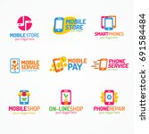 phone logo set color style use... | Shutterstock . vector #691584484