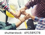 stack hands of business... | Shutterstock . vector #691589278