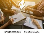 businessman making presentation ... | Shutterstock . vector #691589623