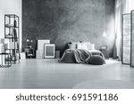 spacious loft bedroom with...   Shutterstock . vector #691591186