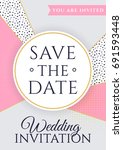 save the date. wedding... | Shutterstock .eps vector #691593448