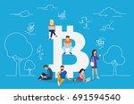 bitcoin concept vector... | Shutterstock .eps vector #691594540