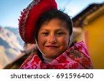 traditional peruvian child in... | Shutterstock . vector #691596400