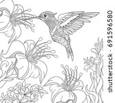 coloring page of hummingbird... | Shutterstock .eps vector #691596580