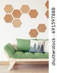 natural wood  green couch and... | Shutterstock . vector #691597888