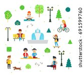 people and children in the park ... | Shutterstock .eps vector #691599760