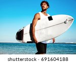 portrait of handsome hipster...   Shutterstock . vector #691604188