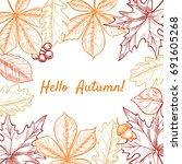 vector frame with leaves ... | Shutterstock .eps vector #691605268