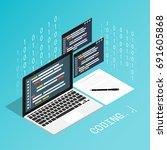 programmer coding binary... | Shutterstock .eps vector #691605868