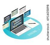 programmer coding binary... | Shutterstock .eps vector #691605898