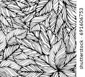seamless leaves background.... | Shutterstock .eps vector #691606753