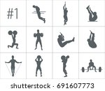 crossfit concept. vector... | Shutterstock .eps vector #691607773