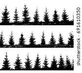 set christmas trees background. ... | Shutterstock .eps vector #691610350