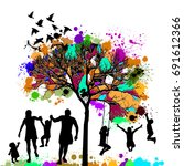 colored tree with a family.... | Shutterstock .eps vector #691612366