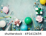 colorful balloon  present or... | Shutterstock . vector #691612654