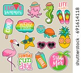 Stock vector set of girl fashion patches colorful cute cartoon badges fun stickers design vector in summer 691614118
