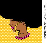 afro american female face. sexy ... | Shutterstock .eps vector #691618294