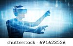 into virtual reality world. man ... | Shutterstock . vector #691623526